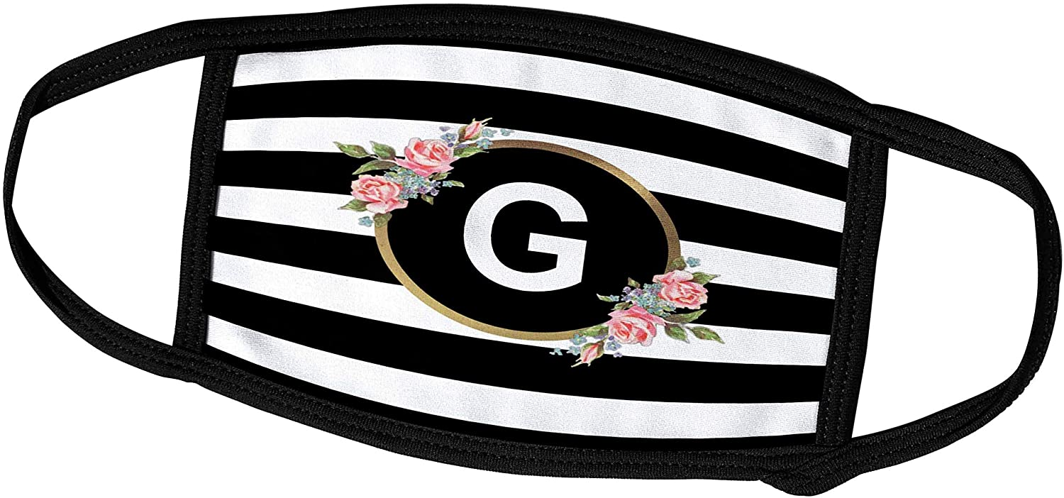 3dRose Floral Letter G Monogram - Black and White Stripes and Flowers. - Face Covers (fc_311493_2)