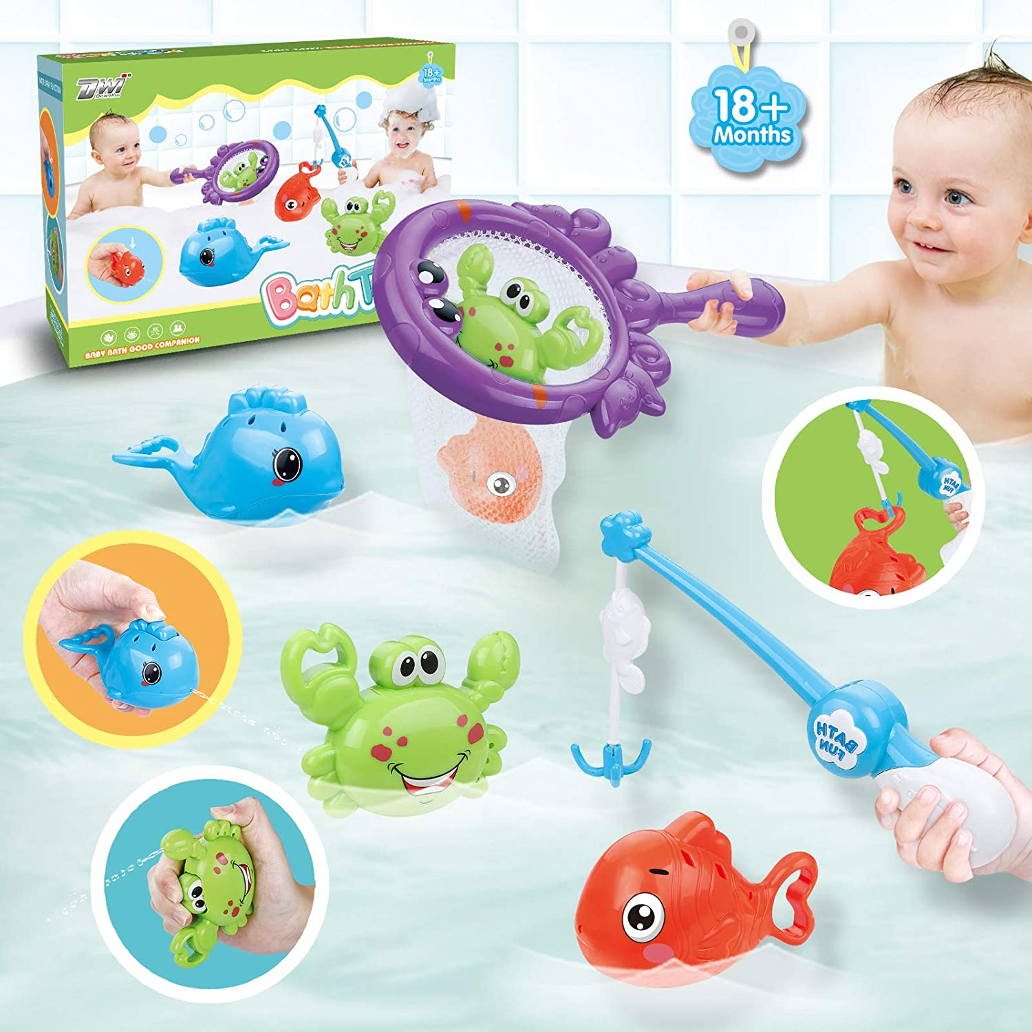 Dwi Dowellin Bath Toys Fishing Games with Fish Net BPA Free No Mold Squirt Fishes Crab Water Table Pool Bath Time Bathtub Toy for Toddlers Baby Kids Infant Girls Boys Age 1 2 3 4 5 6 Years Old