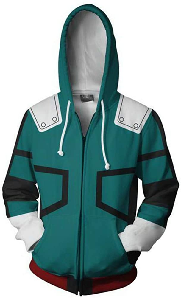 LeeQn Unisex Anime Cosplay 3D Pullover Print Hooded Sweatshirt Hoodie Coat Top Cremallera Larga Valle Verde (S-3XL)