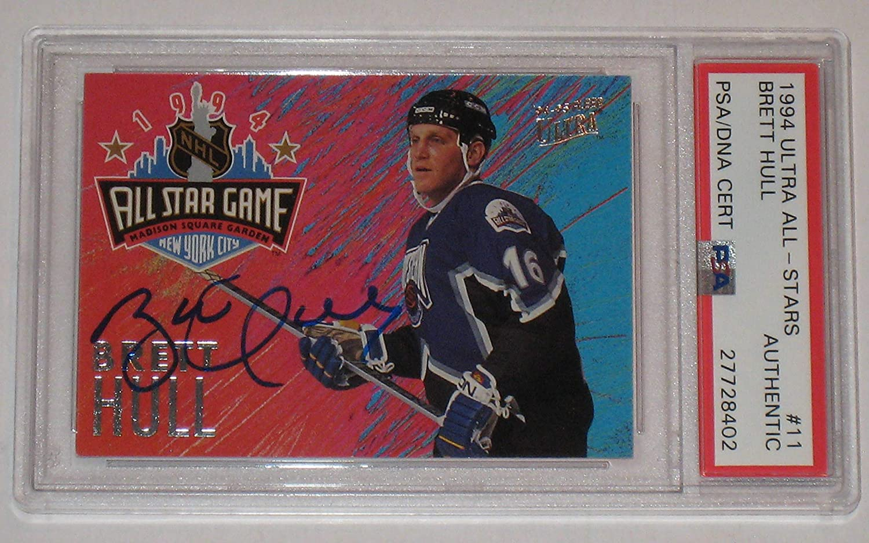 Autographed 1994 Brett Hull Ultra All Stars Hockey Card # 11 PSA DNA