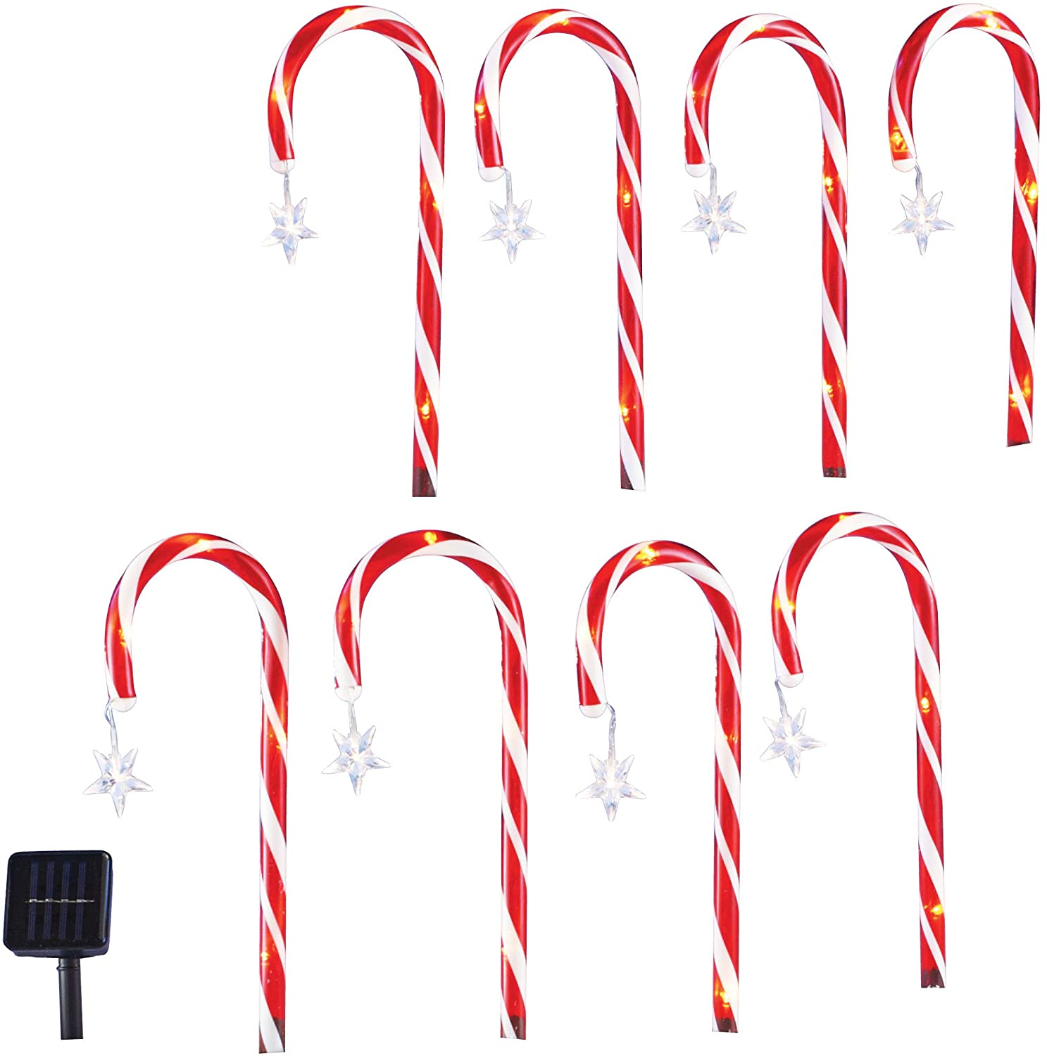 Solar Candy Cane Pathlight Stakes - Set of 8