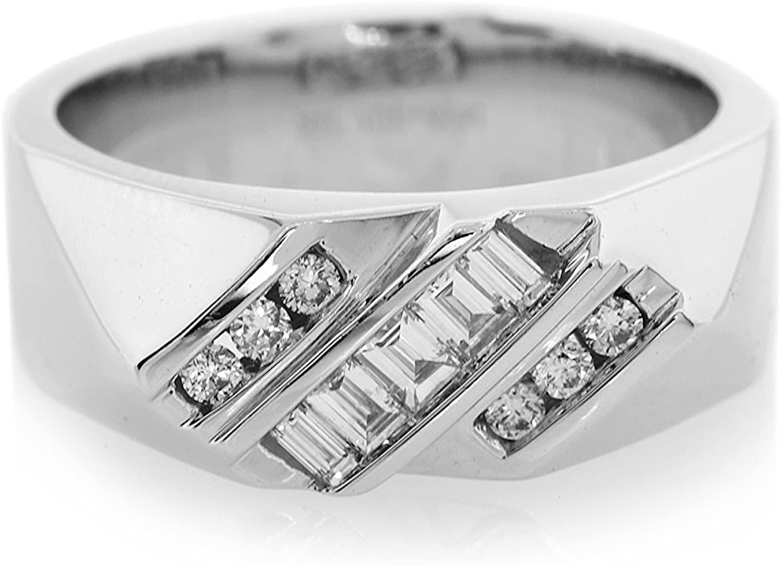 London Fine Jewelry Diamond Three Row Slant in 14K White Gold
