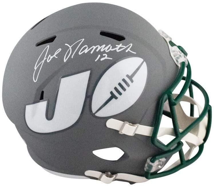 Joe Namath Autographed New York Jets AMP Full-Size Football Helmet - BAS COA