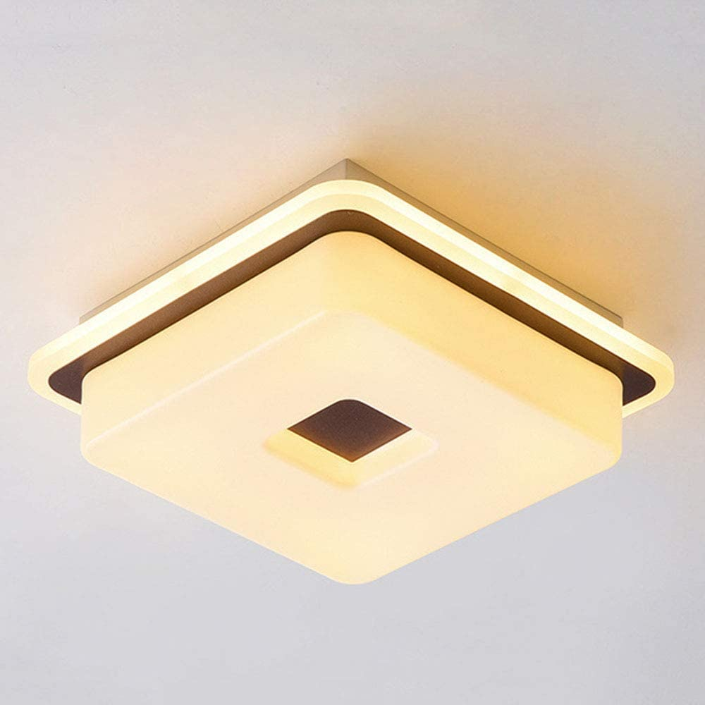 WEM Dimmable Led Square Ceiling Lamp Corridor Aisle Lighting Modern Simple Ceiling Light White Acrylic Balcony Loft Staircase Entrance,20W,1380 Lm,L25Cmrown(Warm Light/White Light/Neutral Light)