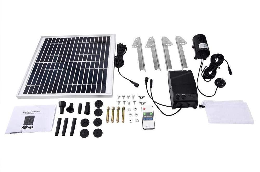 15W Double Pump Power Storage Remote Control Pond Solar Micro Brush-Less Aquarium Submersible Water Pump