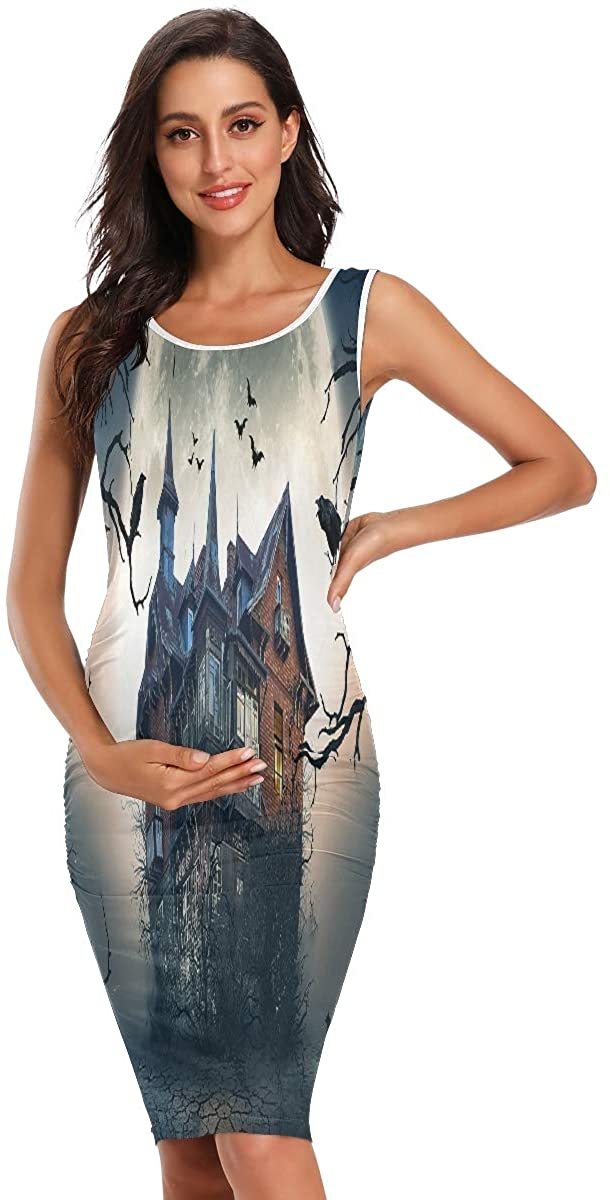 Haunted House with Dark Horror Atmosphere Summer Casual Maternity Dress Pregnancy Sleeveless Chothes