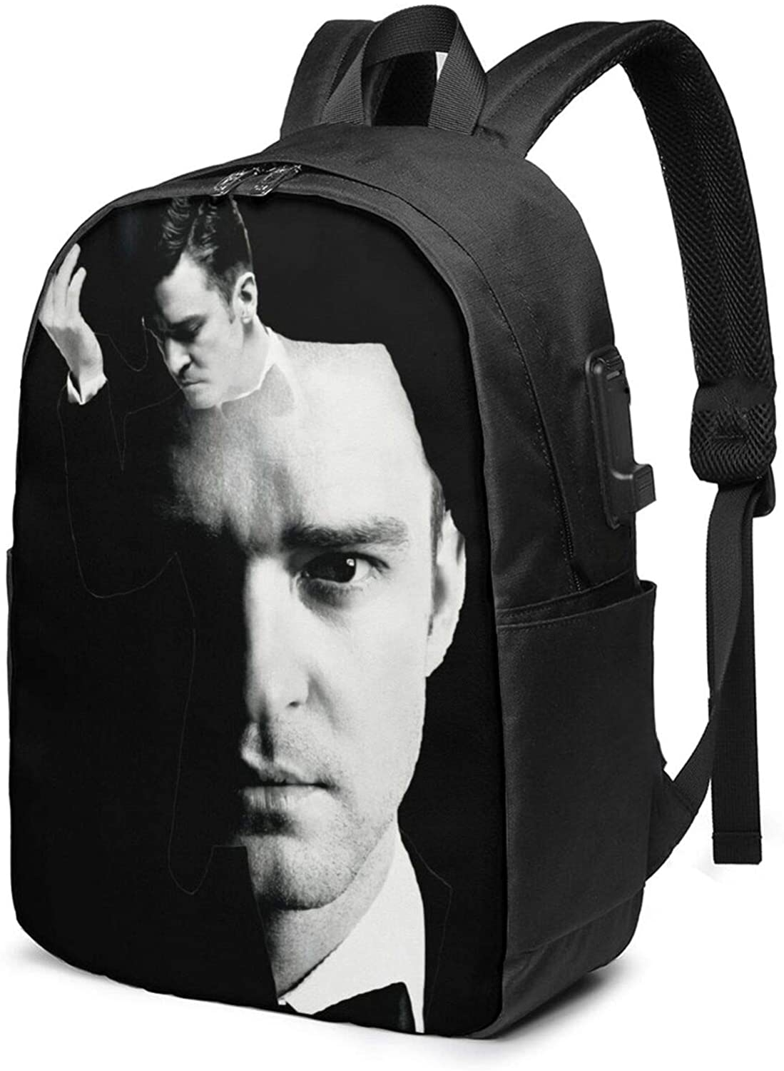 CHENYAMAY Justin Timberlake Fashionable and Durable Anti-Theft Laptop Backpack Travel Bag with USB Charging Port 17 Inches, Suitable for Men and Women