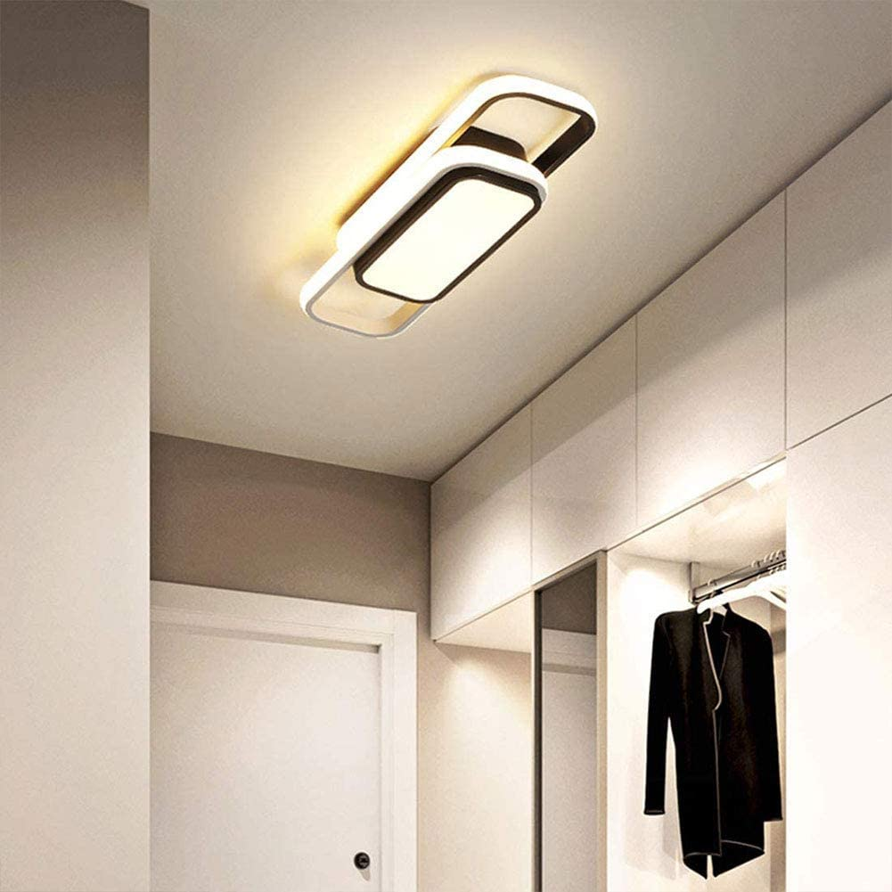 WEM Modern Dimmable Chic Led Ceiling Light, Living Room Dining Room Rectangle Ceiling Light, Creative Balcony Hallway Light Aisle Cloakroom Lighting [Energy Class A+],3 Color Dimming,40cm