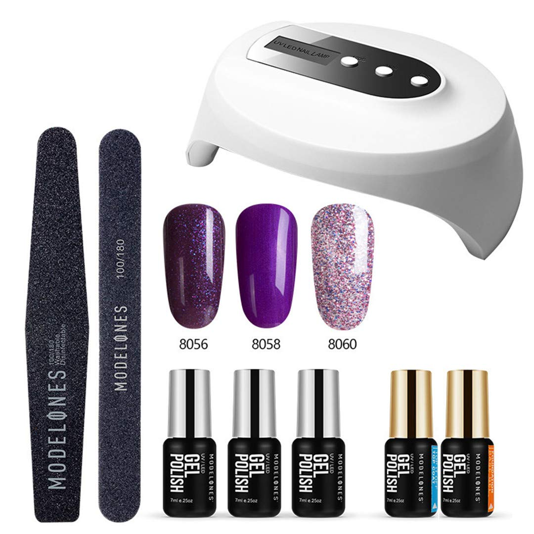 36W UV Led Lamp Cure UV Gel Polish Soak Off 3 Colors Nail Gel Base Coat Top Coat Nail Manicure Kit Tools Set 1