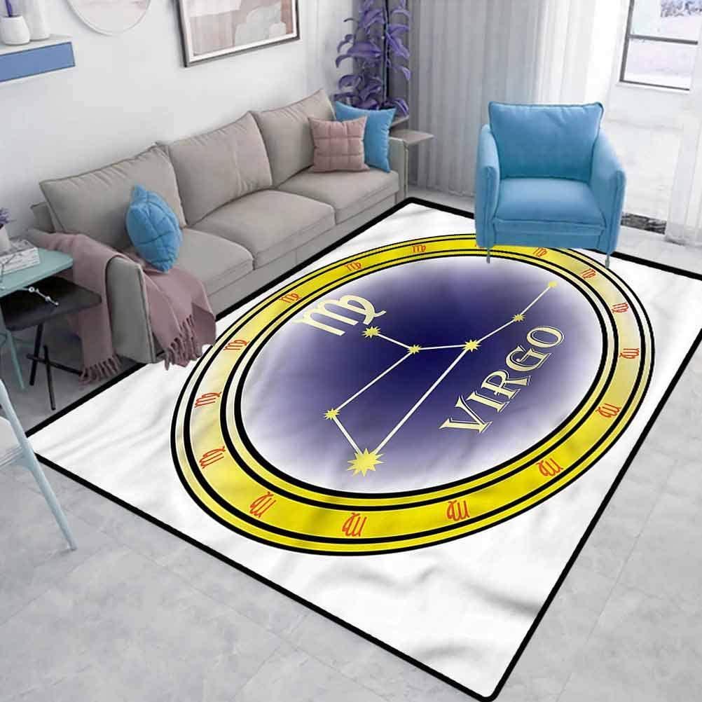 Zodiac Virgo Modern Rugs for Floor Constellation Sign Interior Bedroom Decorative Rug Outdoor Indoor Bathroom Kitchen Decor Rug W6.5 x L9.8 Feet