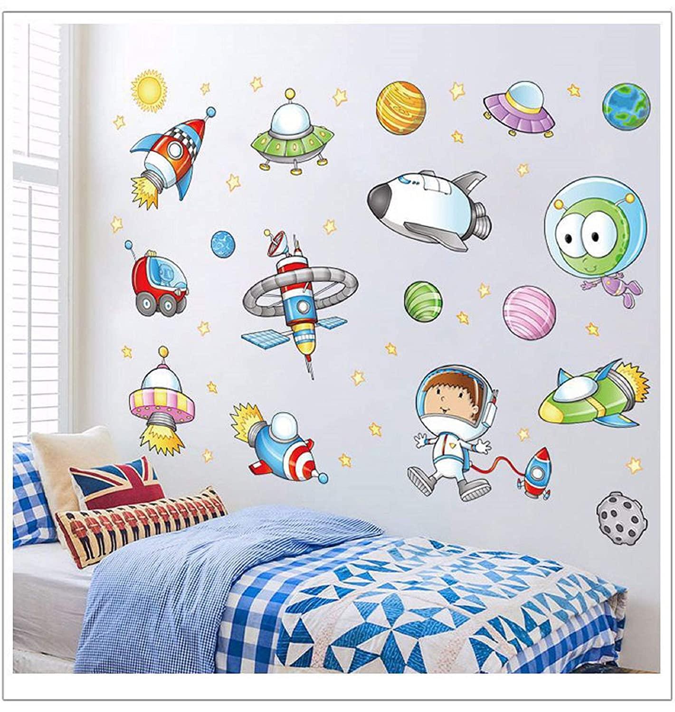 Space Astronaut Cartoon Wall Sticker Kids Room Decoration Bedroom Art Background Autocollant Mural
