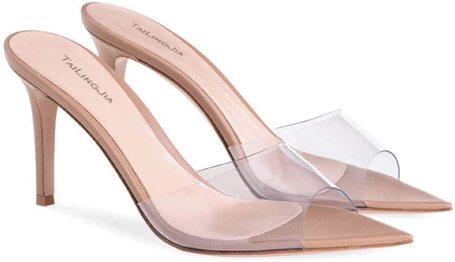 Gasgff Transparent PVC Plus Size High Heel Sandals Flip Flop Womens Shoes