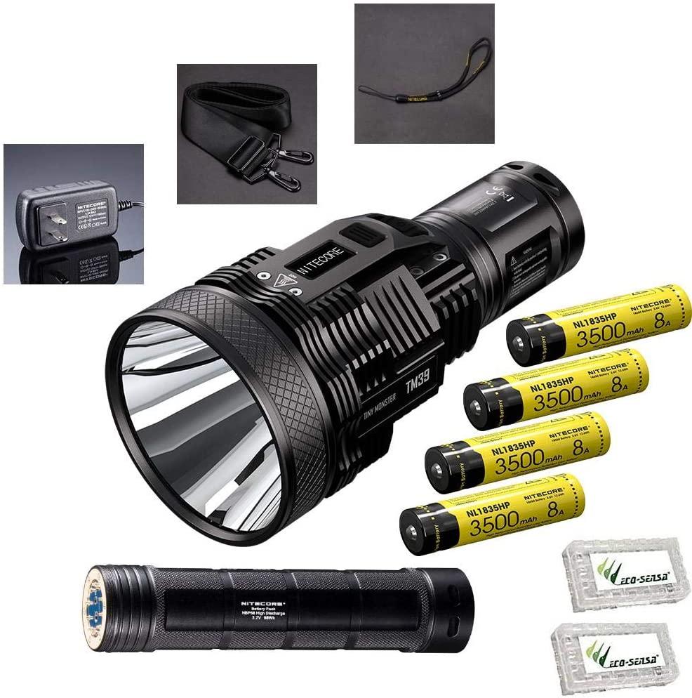 Value Bundle: Nitecore TM39 Lite 5200 Lumen Searchlight/Flashlight -LUMINUS SBT-90 GEN2 LED with NBP68HD battery pack, 4x NL1835HP batteries & 2x Eco-Sensa battery cases