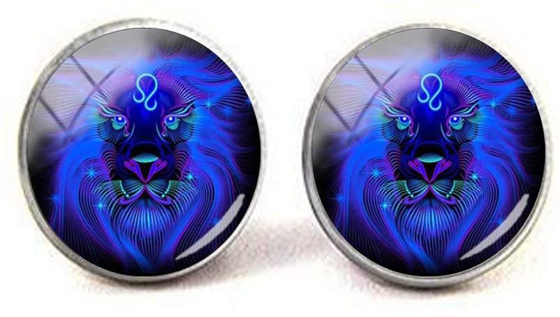 Leo Virgo Long Chains Glass Cabochon Pendant Zodiac Sign 4 Earrings Literary Jewelry