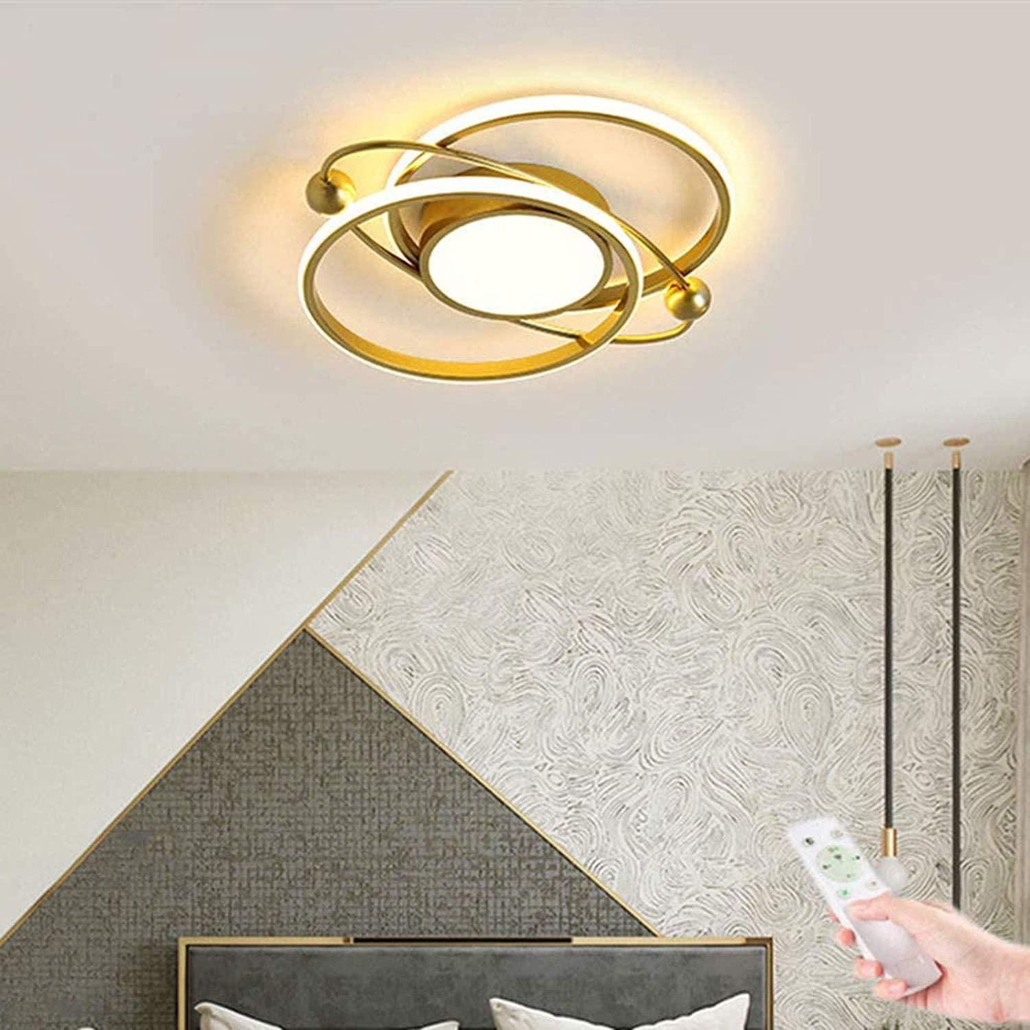 WEM Modern Golden Ceiling Light, Led Ring Design Dimmable with Remote Control Acrylic Shade Modern Simple Ceiling Decor Lighting, Living Room Bedroom Study Room Dining Room Kitchen Office
