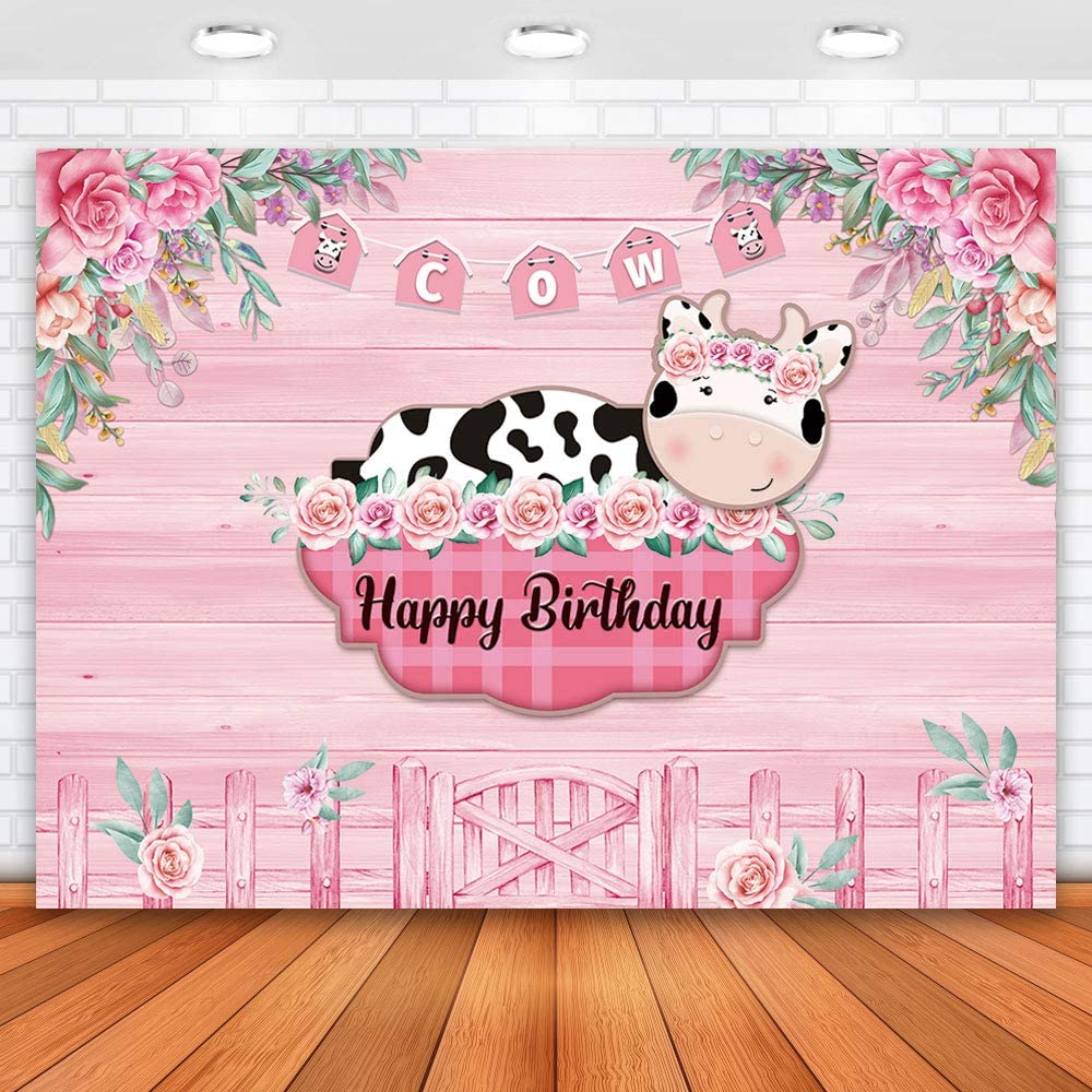 Allenjoy 7x5ft Cows Theme Girl Happy Birthday Backdrop Pink Wood Flower Pricess Girl 1st Birthday Backdrop for Kids Cute Cow Pink Farm Birthday Backdrops for Party