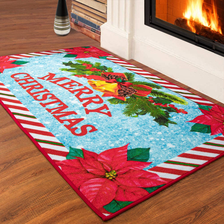 ISEAU Christmas Area Rug, Christmas Flowers Decorations Rugs Non Slip Durable Washable Comfort Rug Floor Carpet Door Mat for Entryway Living Room Bedroom Sofa Bathroom Kitchen Home Decor, 3ft x 5ft