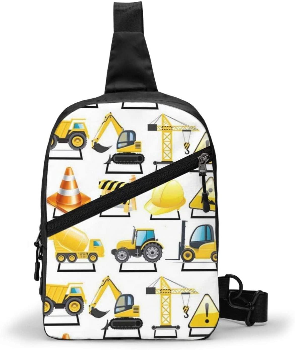 Neddelo Construction Trucks Crossbody Bag,Portable Chest Bags,Folding Chest Bag, Men's and Women Sling Bag for Travel,Hiking, Cycling,Camping