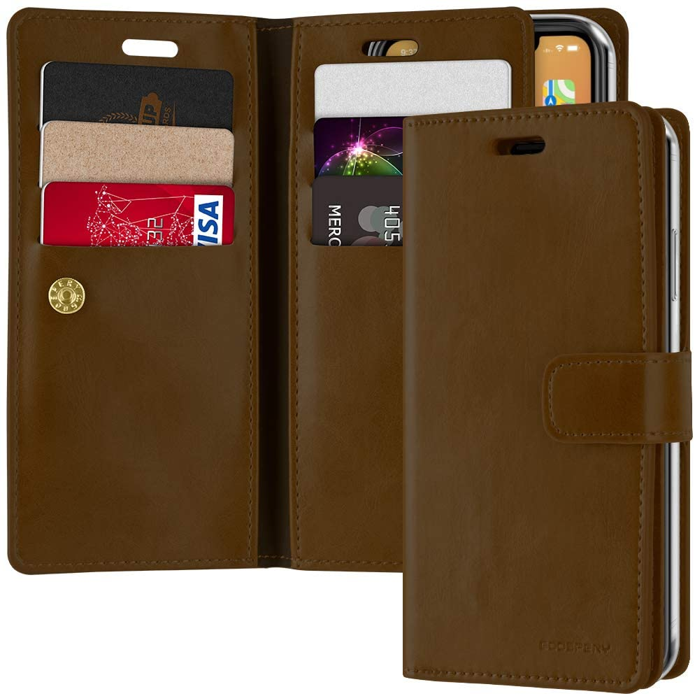 Goospery Mansoor Wallet for Apple iPhone 12 Pro Case, iPhone 12 Case (6.1 inches) Double Sided Card Holder Flip Cover (Brown) IP12P-MAN-BRN