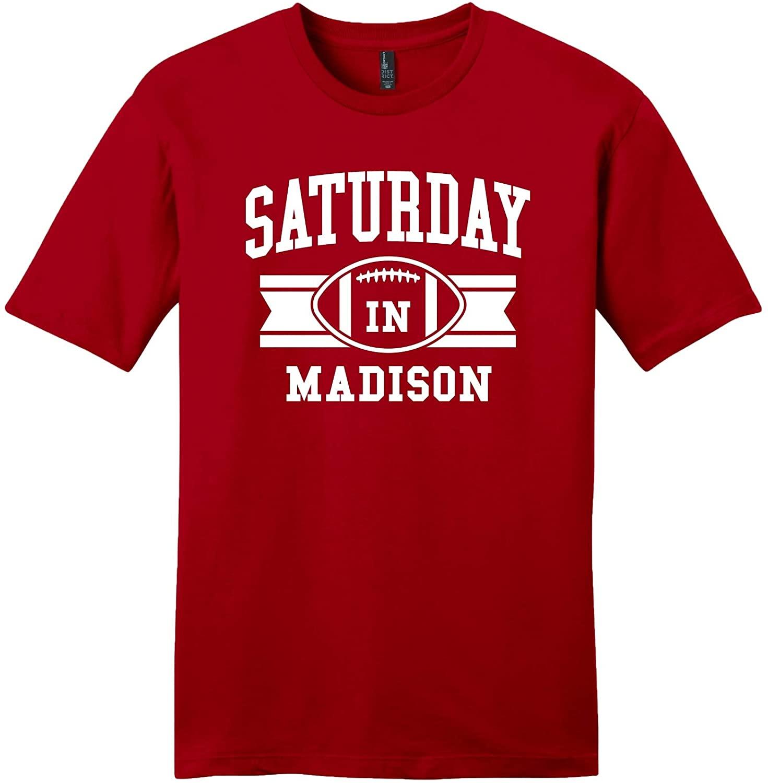 Throwbackmax 'Saturday in Madison' NCAA Football Tee Shirt - Big 10 Wisconsin Badgers - Any 2 Tees for 30