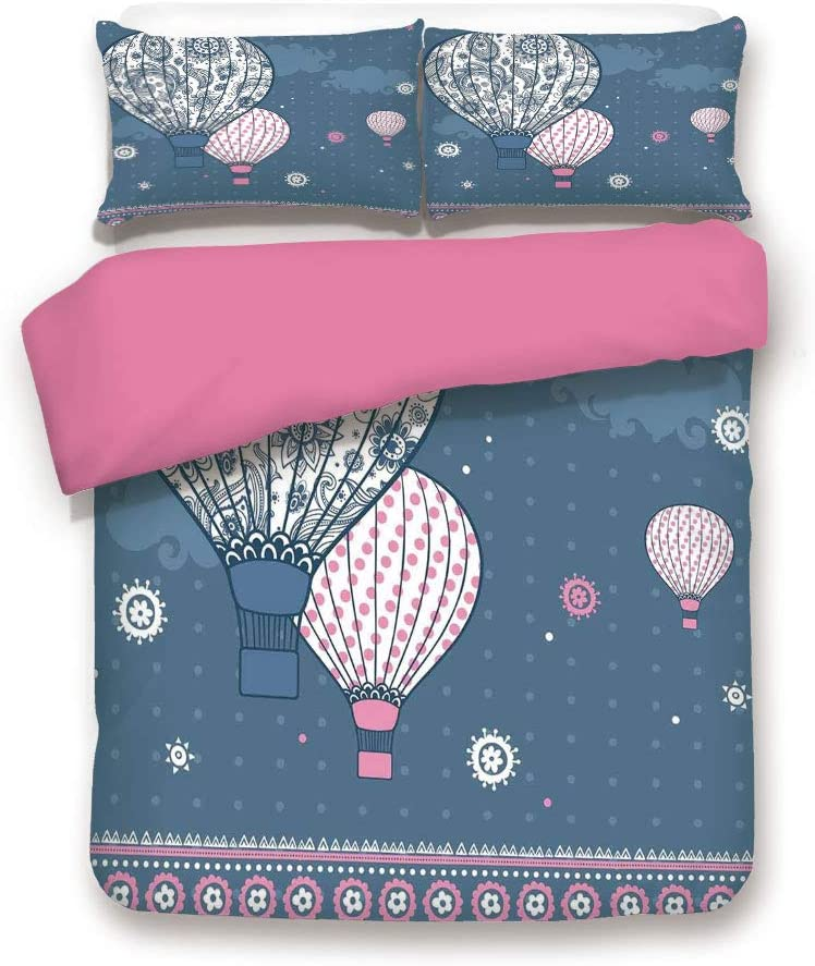 LCGGDB King Size 3D Printed Bedding Set,Air Balloons on Polka Dots and Asian Ethnic Paisley Ornaments Art Print Decorative 3 Piece Bed Sets,1 Comforter Cover with 2 Pillow Shams,Slate Blue Light Pink