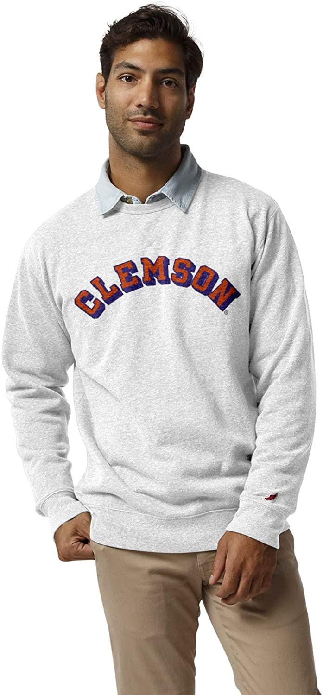 NCAA League Mens Clemson Tigers Heritage Classic Crew, Medium, Heather Varsity White