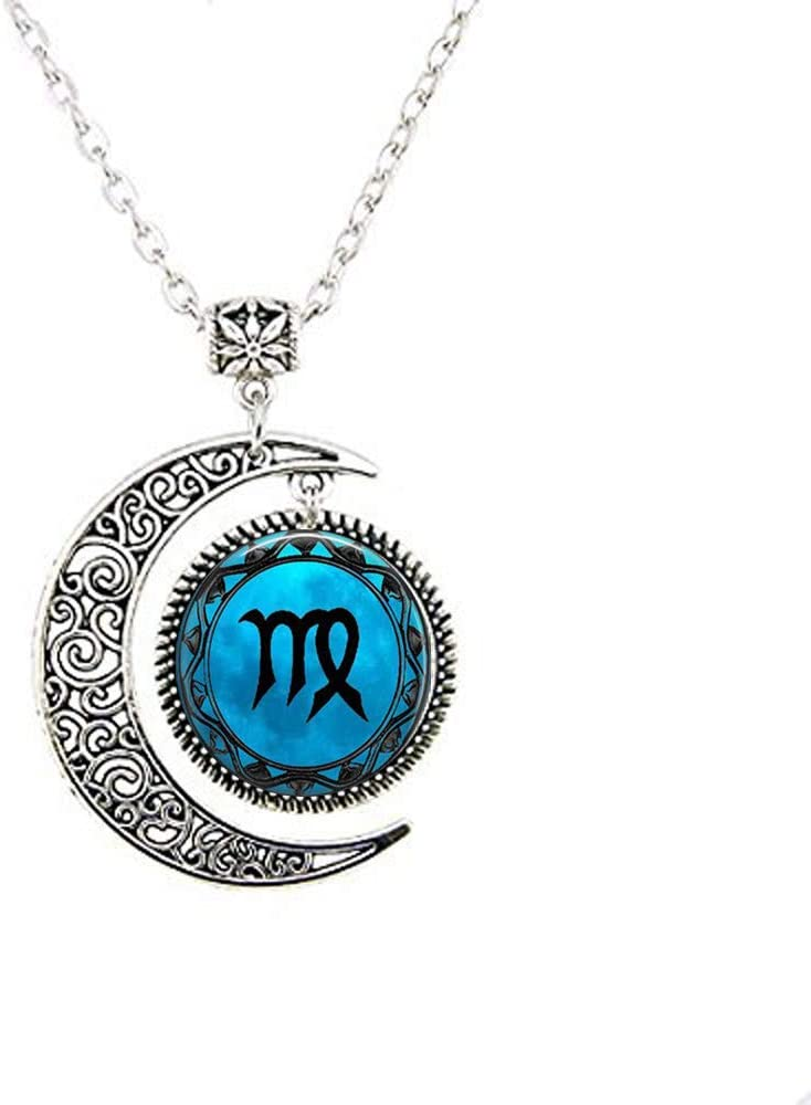 Virgo Blue Moon Zodiac Symbol Astrology Horoscope Glass Dome Moon Necklace