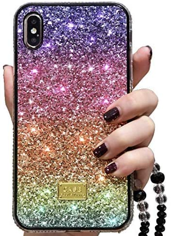 YOER Glitter Creative Rainbow Colorful Case for iPhone 11, The Newest Design, Shockproof, Support Wireless Charging, Slim Cover -for Girls (iPhone 11)