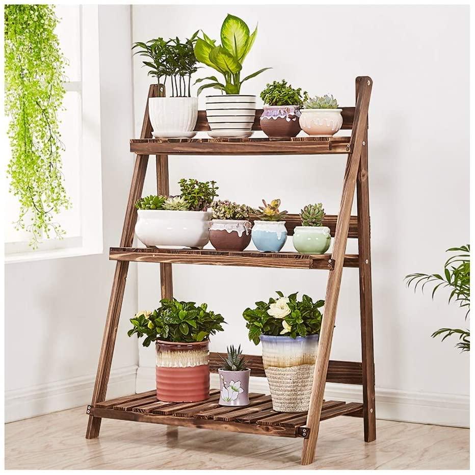 QNN Plant Stands,Solid Wood Living Room Balcony Indoor Multi-Storey Floor-Standing Fleshy Flower Pot Shelf Decorative Flower Pots