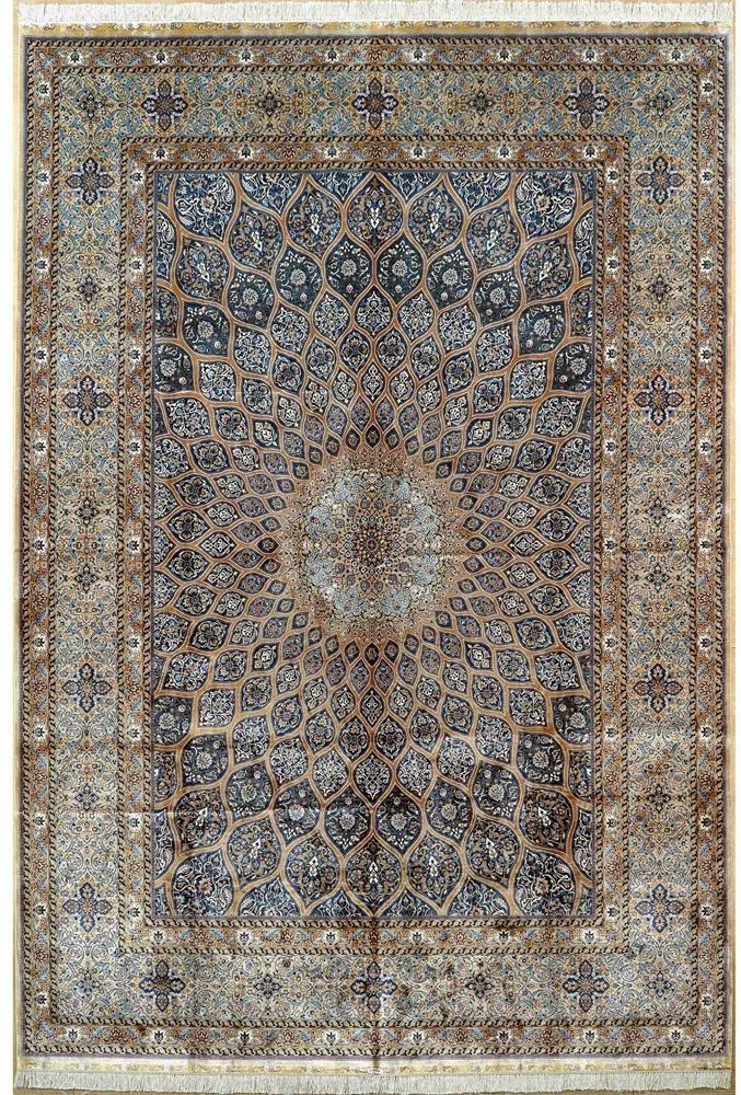 10'x14' Hand Knotted Silk Rug Traditional Persian Medallion Handmade Radial Pattern Living Room Carpet 1888