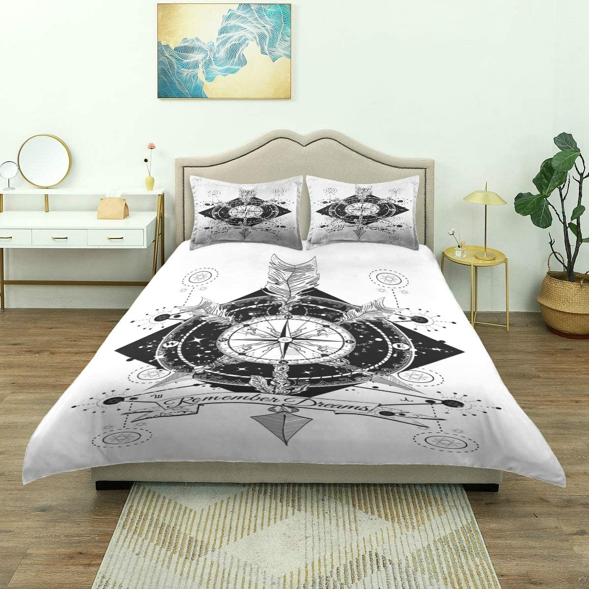 Cotton Duvet Cover Set Vintage Floral Mandala Compas Arrow Retro 3 Piece Comforter Covers King Size Soft Cotton Quilt Cover with 2 Pillow Covers for Mens Womens Hotel Luxury Bedding 90x104in