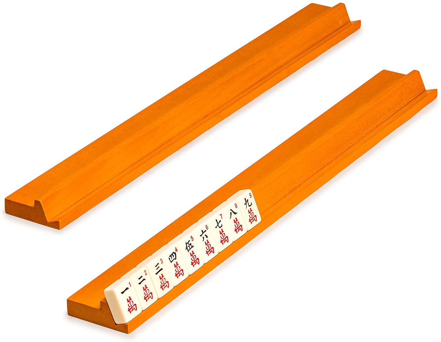 Yellow Mountain Imports 20-Inch Classic Extended Length Wooden Mahjong Racks - Set of 4