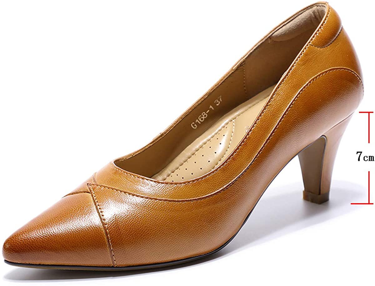 Mona flying Women's Leather Pumps Dress Shoes High Heels Med Heel Pointed Toe Formal Office Shoes for Women Ladies