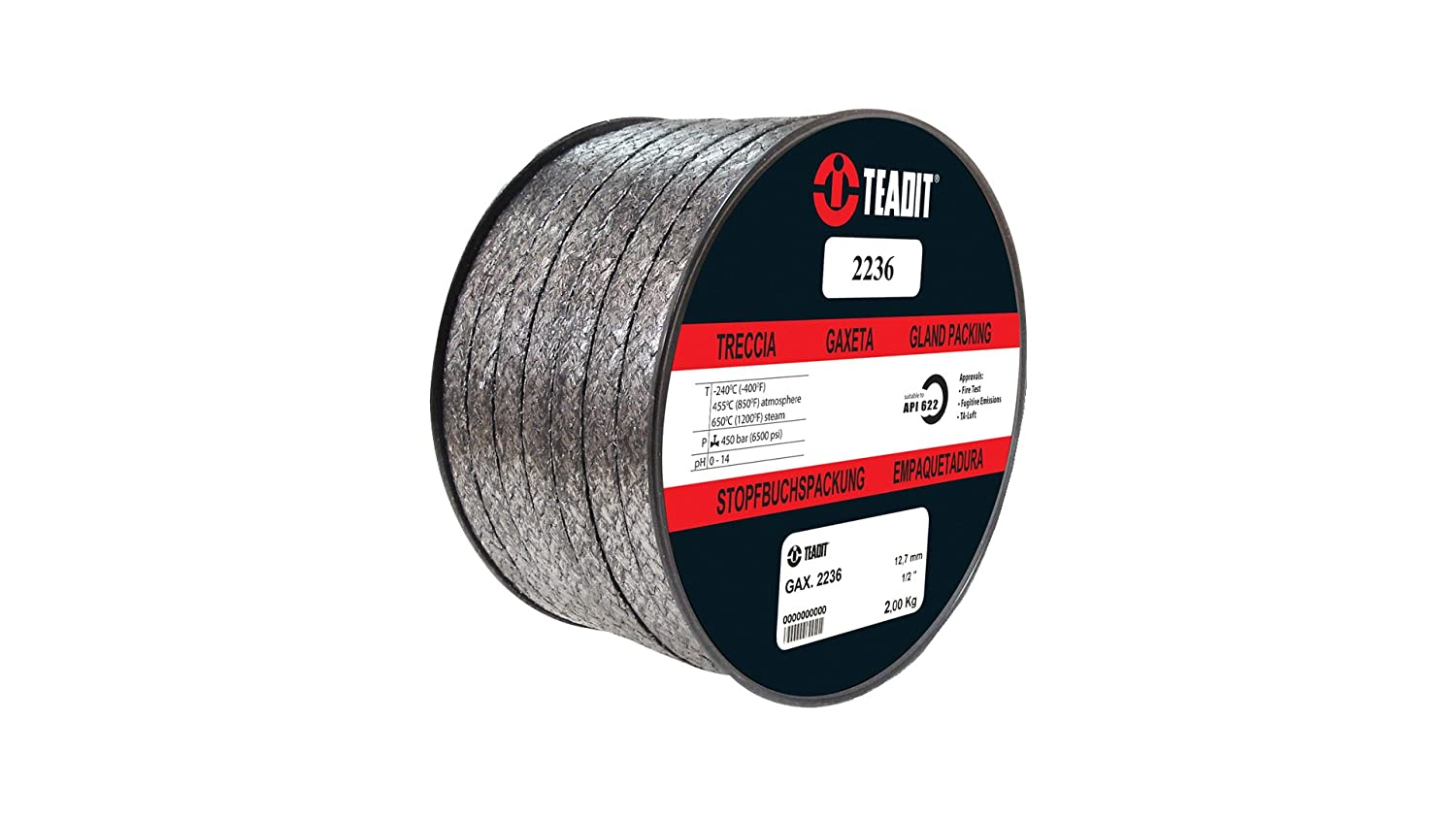 Sterling Seal and Supply (STCC) 2236.375X10 Teadit Style 2236 Graphite Foil with Inconel Wire Jacket, 3/8