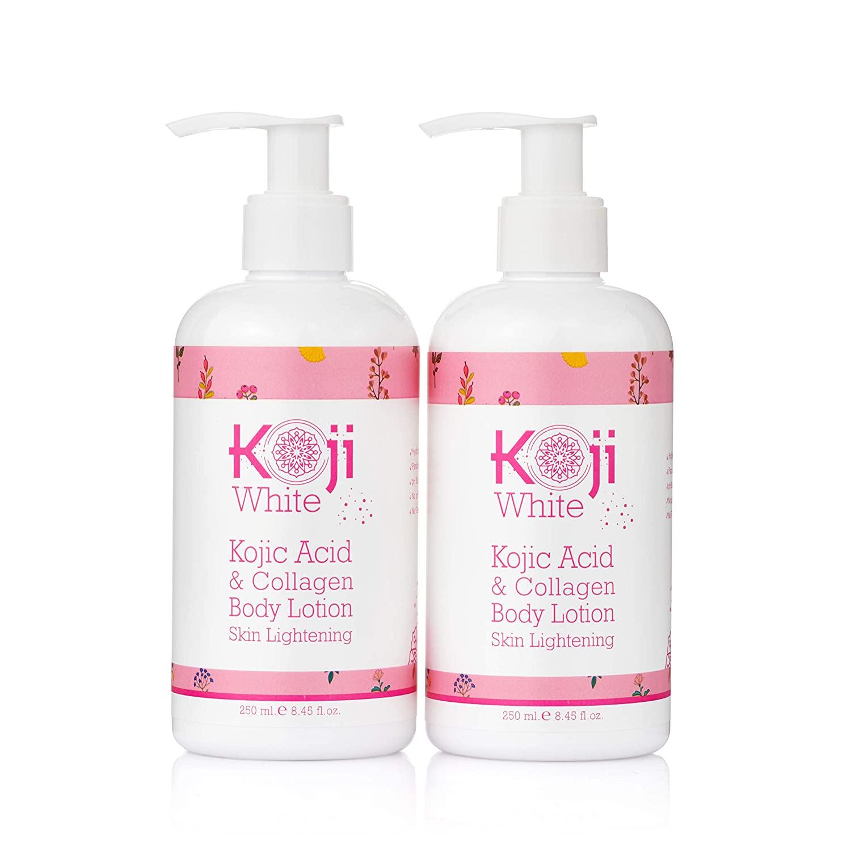 Koji White Kojic Acid & Collagen Body Lotion Skin Brightening - Women Gift Set (2 Pack) - for Moisturizer & Radiant Complexion, Uneven Skin Tone - 8.8 Oz Bottle