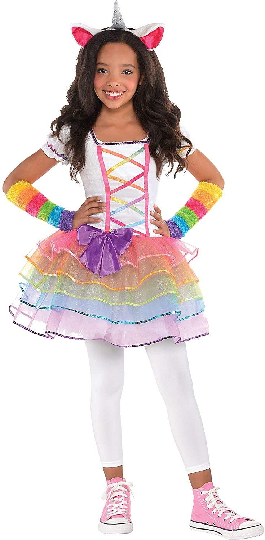 AMSCAN Rainbow Unicorn Halloween Costume for Girls, Includes Dress, Headband, Arm and Leg Warmers
