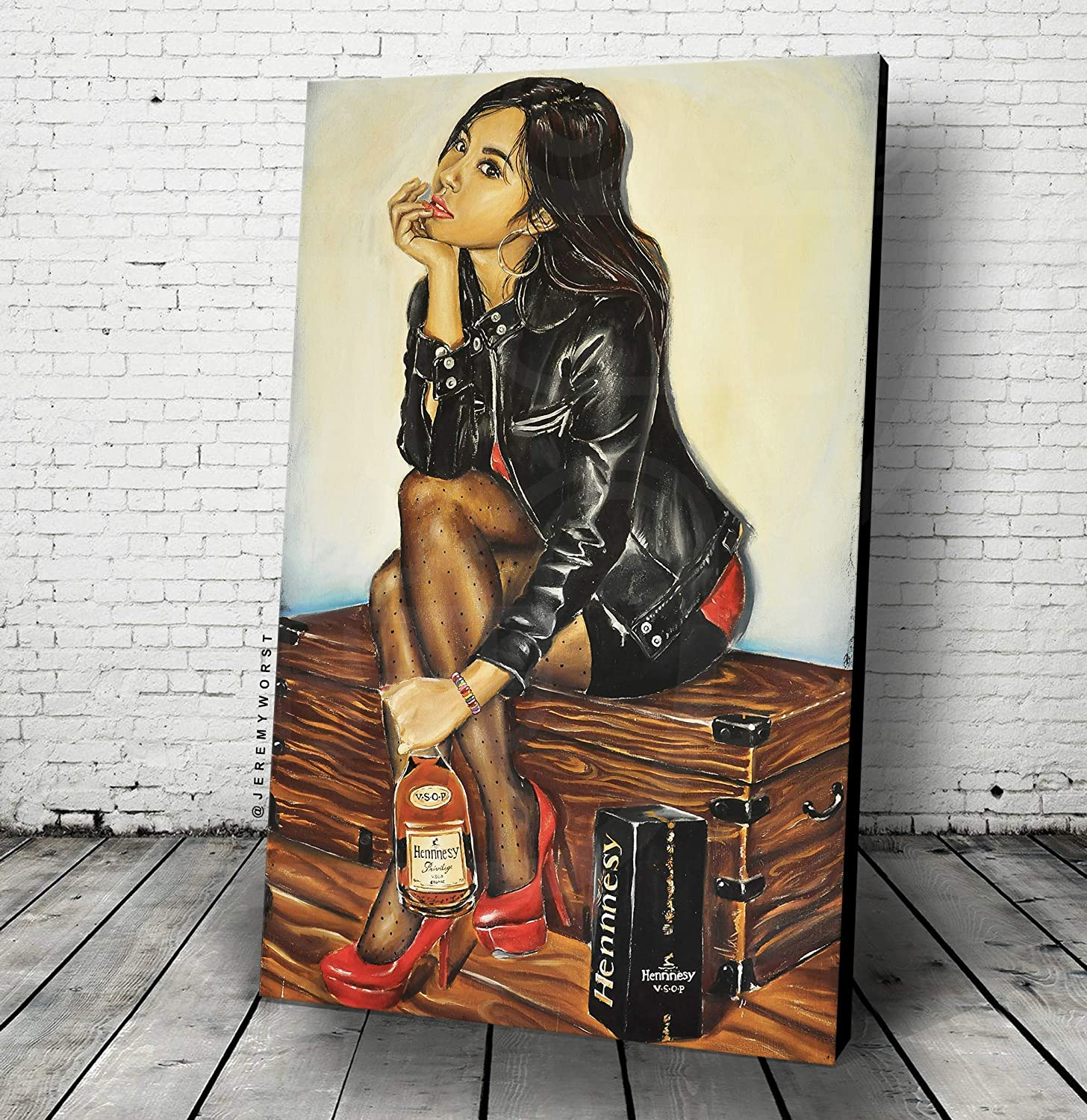 JEREMY WORST V S O P Hennyy Wall Art Poster or Canvas | Arcade Bar Game Room Club Living Room Gifts | Print Ready Strong Fearless Sign collectible Clock | American Beer Acrylic Painting