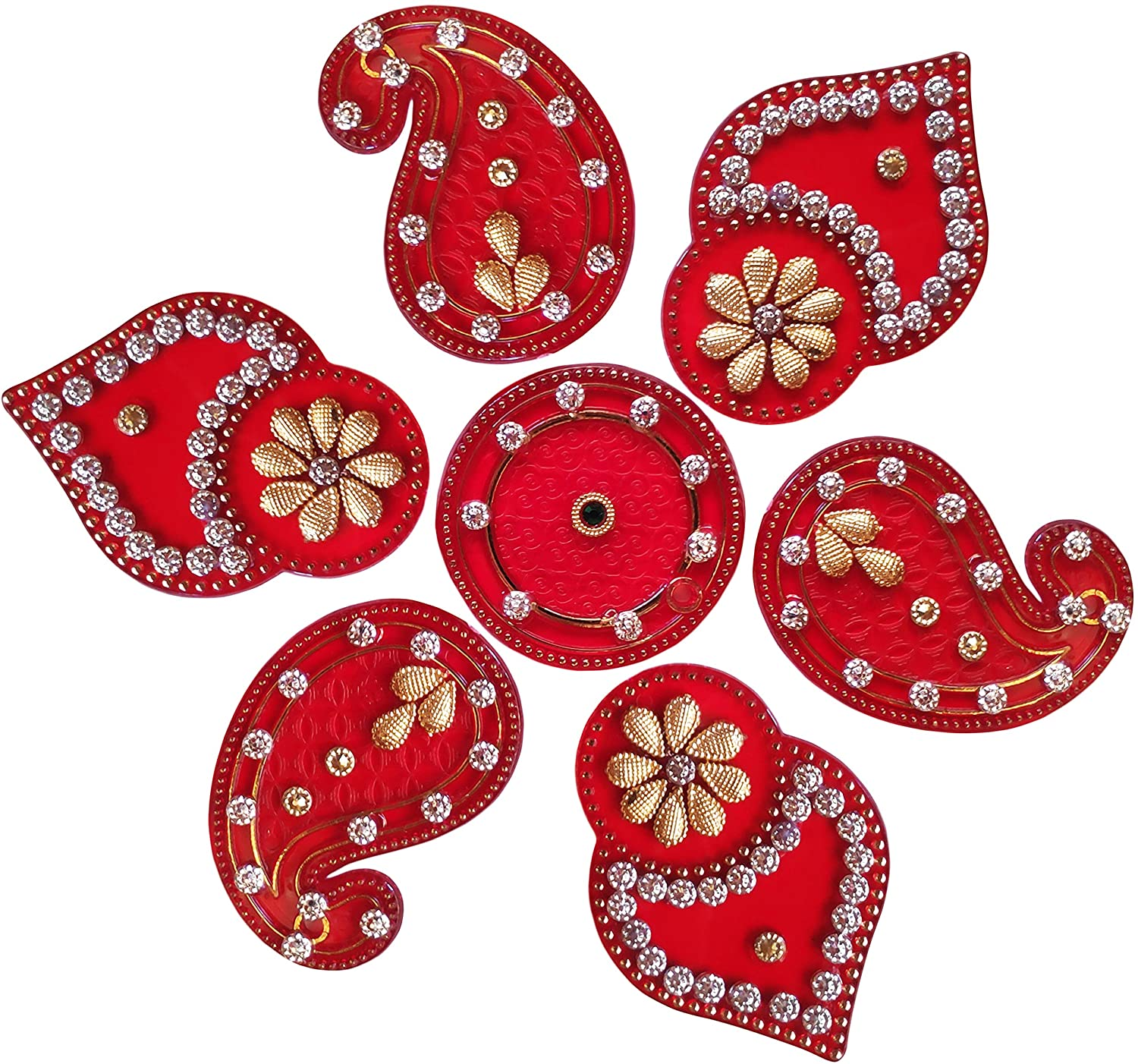 Diwali Acylic Rangoli Floor Decorations Acrylic Yellow Color with Studded Stones and Sequins, Traditional Festive Home Décor
