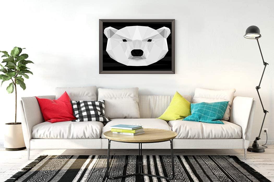 60 Pieces Jigsaw Puzzles Polar Bear Head Nature Animal Life Geometric Triangle White Placard Billboard 7.1