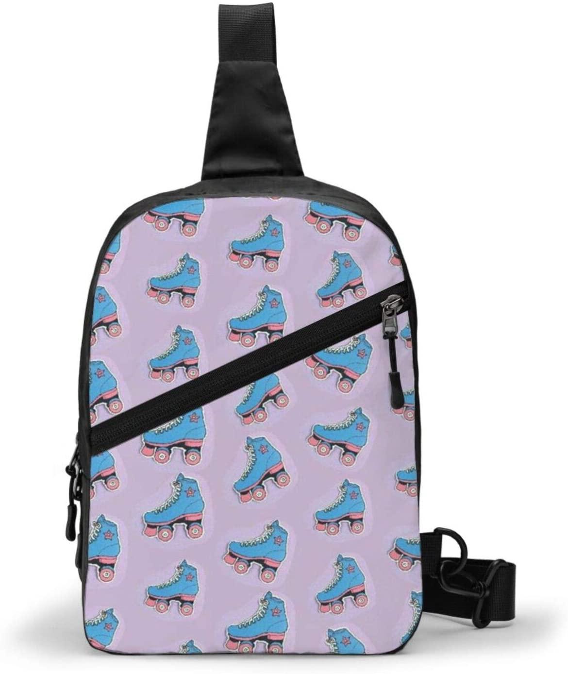 Neddelo Roller Skates Crossbody Bag,Portable Chest Bags,Folding Chest Bag, Men's and Women Sling Bag for Travel,Hiking, Cycling,Camping