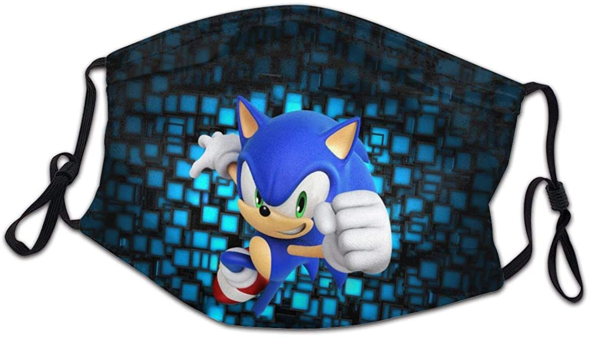 Sonic The Hedgehog Protection Cloth Face Mask Adjustable Bandanas for Kids Boys Girls Children