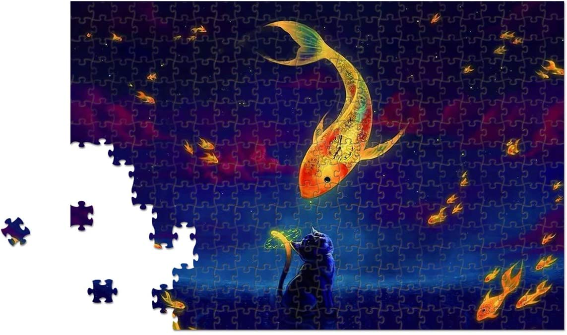 Mceal Wooden Jigsaw Puzzle 1000 Piece - Cat & Flying Fish