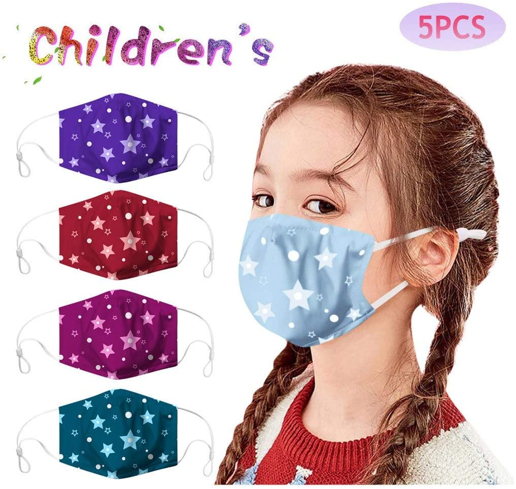 Youdw 5PCs Kids Star Cartoon Cotton Fabric Face Covering for Protection and Anti-dust, Washable Reusable Cloth for Outdoor Cycling Sport, Hiking and School