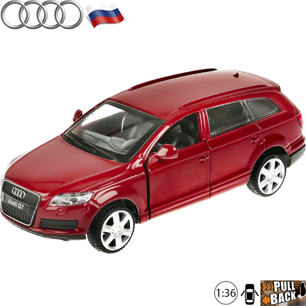1:36 Scale Diecast Car Audi Q7 Red Pre-Facelift Sport Utility Vehicle - Russian Collectible Model Toy Cars