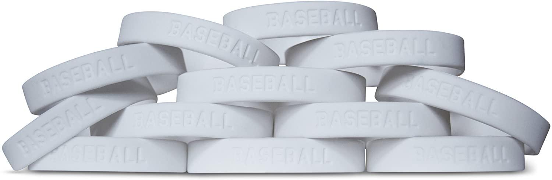Novel Merk 12-Piece Kids White Baseball Party Favor & School Carnival Prize Sports Silicone Wristband Bracelet