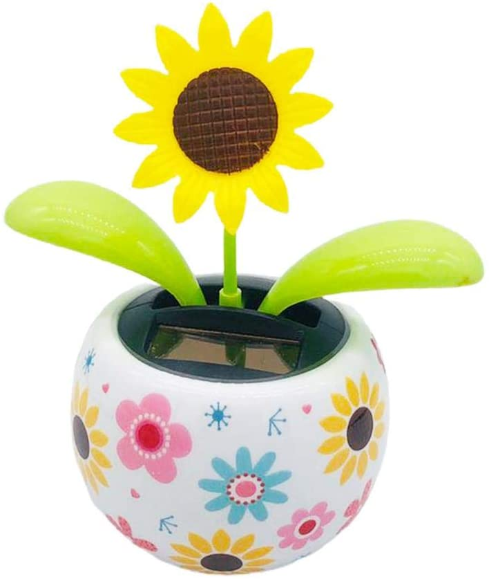 Solar Powered Dancing Flower for Car,Swinging Animated Bobble Dancer Toy Car Shaking Head Doll,Happy Dancing Flower in The Pot for Car Office Desk Home Decor