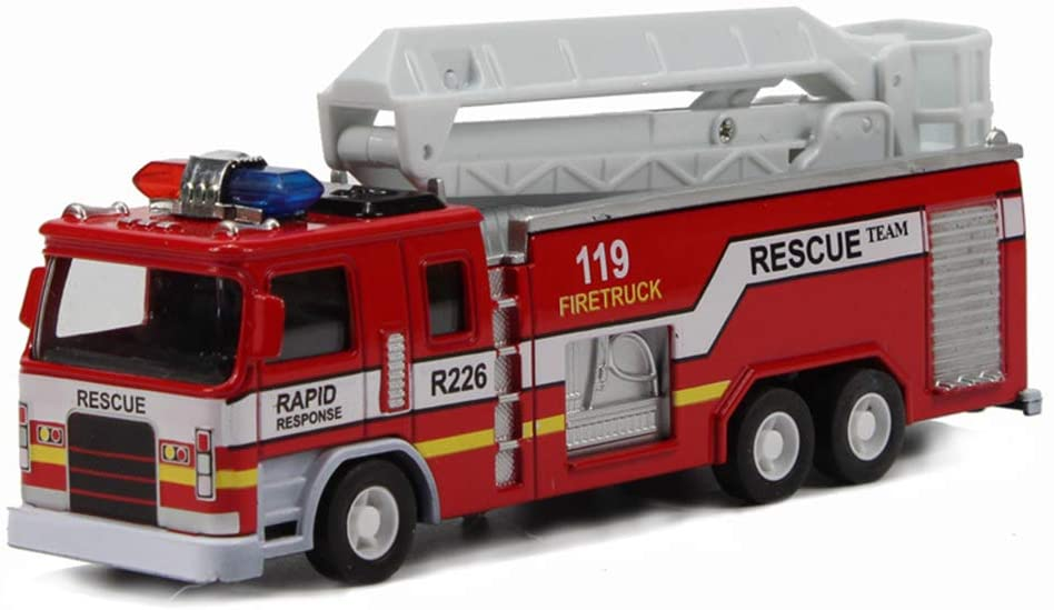 FY-SP Fire Truck Models Pull-Back Vehicle Mini Fire Engine Car Emergency Rescue Vehicles for Kids Educational Toy (RedB)
