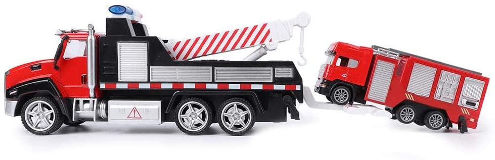 Xinwoer Simulation Vehicle Toy, 2 Types Alloy Pull Back Vehicle, for Kids Children(Rescue Vehicle Towing fire Water Cannon Truck)