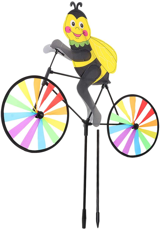 YARDWE Bike Windmill Spinner Bee Shaped Colorful Rainbow Wheel Wind Spinner Whirligig Pinwheel Garden Stakes Decorations for Christmas Yard Outdoor Decor