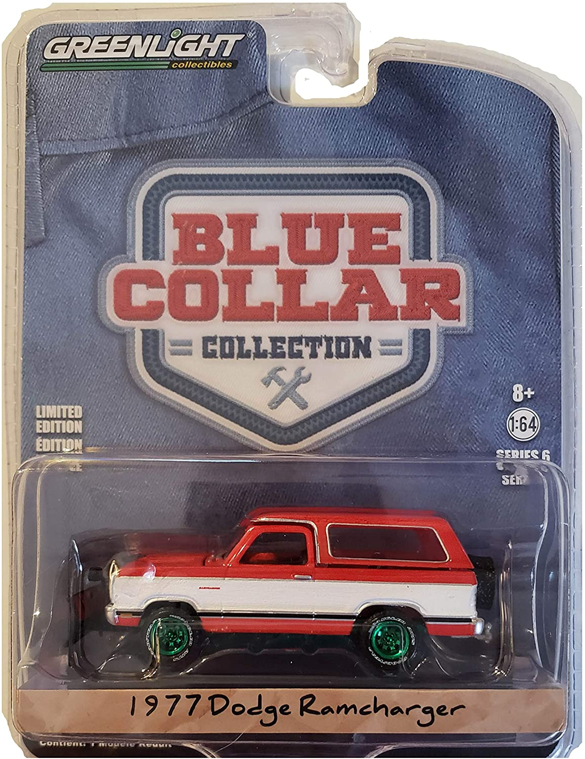 Green Machine 35140-C Blue Collar Collection Series 6-1977 Dodge Ramcharger with Snow Plow 1:64 Scale Greenlight Chase